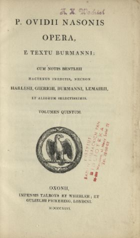 P. Ovidii Nasonis Opera. vol. 5