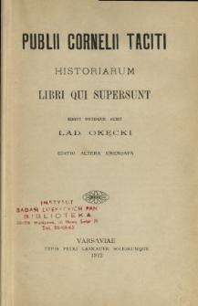 Publii Cornelii Taciti Historiarum libri qui supersunt
