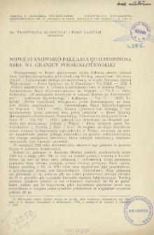 Nowe stanowisko Pallasea quadrispinosa sars. na granicy polsko-łotewskiej