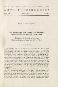 Über Morphologie und Biologie der Haselmaus (Muscardinus avellanarius L.) in Polen; Morfologia i biologia orzesznicy (Muscardinus avellanarius L.) w Polsce