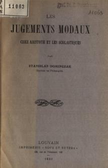 Les jugements modaux chez Aristotle et les scholastiques