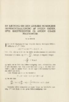 En Sætning om den lineære homogene Differentialligning af anden Orden hvis koeficienter er anden Grads Polynomier