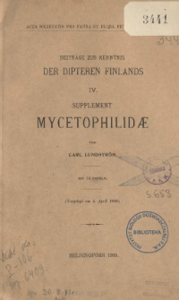 Beiträge zur kenntnis der Dipteren Finlands. 4 ; Supplement Mycetophilidæ