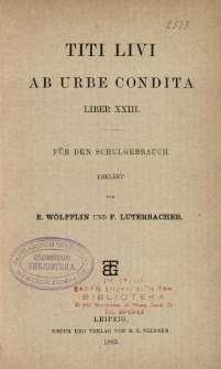 Titi Livii Ab urbe condita liber XXIII