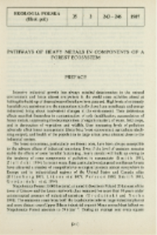 Pathways of heavy metals in components of a forest ecosystem : Preface
