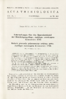 Untersuchungen über den Magendarmkanal der Hirschziegenantilope, Antilope cervicapra (Linnaeus 1758); Badanie przewodu pokarmowego antylopy garna, Antilope cervicapra (Linnaeus, 1758)