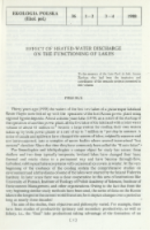 Effect of heated-water discharge on the functioning of lakes. Preface