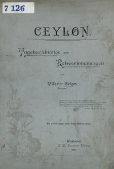 Ceylon : Tagebuchblätter und Reiseerinnerungen