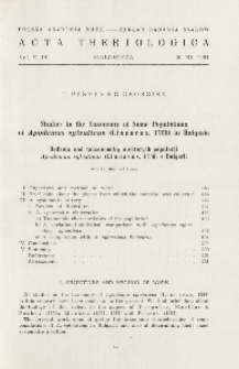 Studies in the taxonomy of some populations of Apodemus sylvaticus (Linnaeus, 1758) in Bulgaria; Badania nad taksnomią niektórych populacji Apodemus sylvaticus (Linnaeus, 1758) z Bułgarii