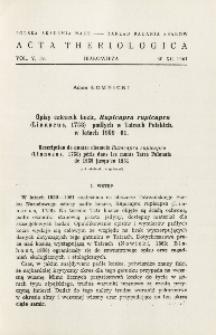 Opisy czterech kozic, Rupicapra rupicapra (Linnaeus, 1758) padłych w Tatrach Polskich w latach 1959-61; Description de quatre chamois Rupicapra rupicapra (Linnaeus, 1758) peris dans les monts Tatra Polonais de 1959 jusgu'en 1961