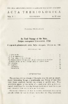 On food storage of the mole, Talpa europaea Linnaeus 1758; O zapasach pokarmowych kreta, Talpa europaea Linnaeus 1758