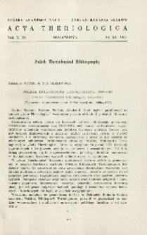 Polska Bibliografia Teriologiczna, 1959-1961; Polish theriological bibliography, 1959-1961