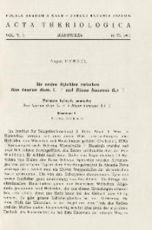 Bisoniana I. Die ersten Hybriden zwischen Bos taurus dom . L. o [Bulle] und Bison bonasus (L.) o [Kuh]; Bisoniana I. Pierwsze hybrydy pomiędzy Bos taurus dom . L. [samiec] i Bison bonasus (L.) [samica]