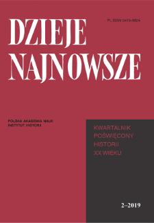 Dzieje Najnowsze : [kwartalnik poświęcony historii XX wieku] R. 51 z. 2 (2019), Strony tytułowe, Spis treści