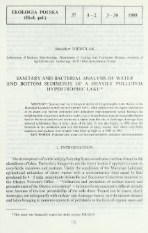 Sanitary and bacterial analysis of water and bottom sediments of a heavily polluted, hypertrophic lake