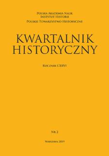 Kwartalnik Historyczny R. 126 nr 2 (2019), Strony tytułowe, Spis treści