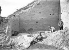 Stanowisko Horodok II : widok na wykop i trzech pracowników