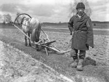 Łubień, gm. mińska : chłop jadący w pole