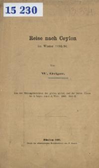 Reise nach Ceylon im Winter 1895/96