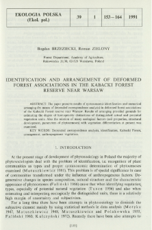 Identification and arrangement of deformed forest associations in the Kabacki Forest reserve near Warsaw