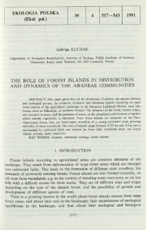 The role of forest islands in distribution and dynamics of the Araneae communities