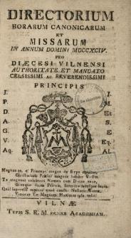 Directorium Horarum Canonicarum Et Missarum In Annum Domini 1794