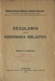 Regulamin dla kierownika bibljoteki