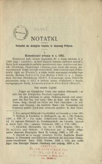 Notatki do dziejów teatru w dawnej Polsce