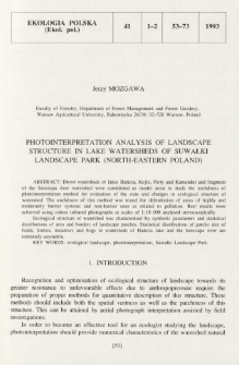 Photointerpretation analysis of landscape structure in lake watersheds of Suwałki Landscape Park (north-eastern Poland)