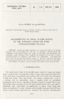 Macrophytes of small water bodies of the Suwałki Landscape Park (north-eastern Poland)