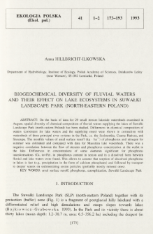 Biogeochemical diversity of fluvial waters and their effect on lake ecosystems in Suwałki Landscape Park (north-eastern Poland)