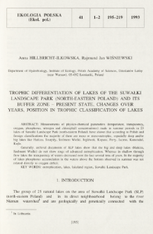 Trophic differentiation of lakes of the Suwałki Landscape Park (north-eastern Poland) and its buffer zone - present state, changes over years, position in trophic classification of lakes