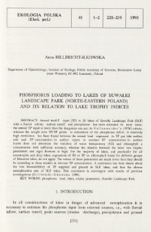 Phosphorus loading to lakes of Suwałki Landscape Park (north-eastern Poland) and its relation to lake trophy indices