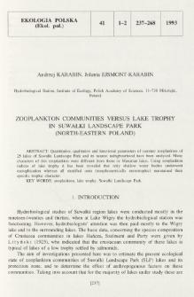 Zooplankton communities versus lake trophy in Suwałki Landscape Park (north-eastern Poland)