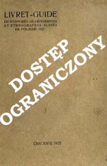 Livret-guide du II Congrès de géographes et ethnographes slaves en Pologne 1927