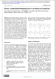 Parent, Unsubstituted Hemiporphycene: Synthesis and Properties
