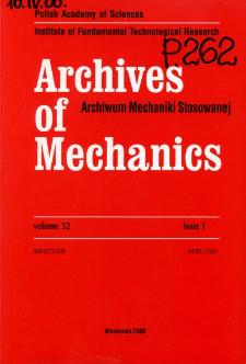 Archives of Mechanics Vol. 52 nr 1 (2000)