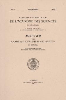 Bulletin International de L'Académie des Science de Cracovie : Classe de Philologie : Classe d'Histoire et de Philosophie.