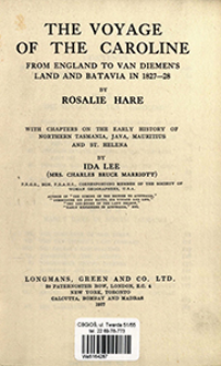 The voyage of the Caroline form England to Van Diemen's land and Batavia in 1827-28