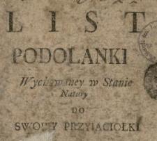 List Podolanki Wychowaney w Stanie Natury Do Swoiey Przyiaciołki.