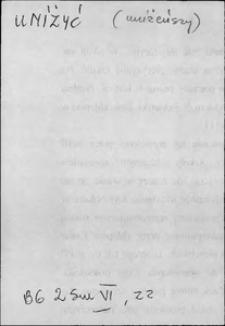 Kartoteka Słownika języka polskiego XVII i 1. połowy XVIII wieku; Uniżyć - Upominek