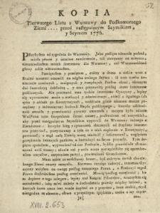 Kopia Pierwszego Listu z Warszawy do Podkomorzego Ziemi .... przed następuiącym Seymikiem y Seymem 1776