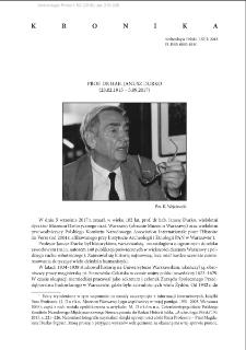 Prof. dr hab. Janusz Durko (23.02.1915 – 5.09.2017)