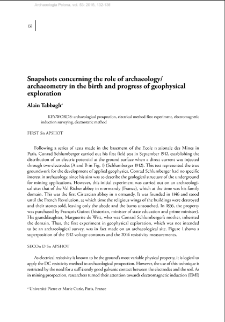 Snapshots concerning the role of archaeology/archaeometry in the birth and progress of geophysical exploration