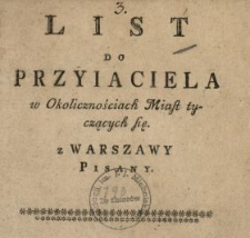 List Do Przyiaciela w Okolicznościach Miast tyczących się z Warszawy Pisany