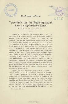 Buchbesprechung : Verzeichnis der im Regierungsbezirk Köslin aufgefundenen Käfer von Albert Lüllwitz