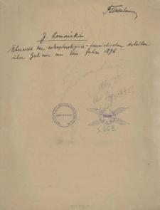 Übersicht der coleopterologisch-faunistischen Arbeiten über Galizien aus dem Jahre 1896