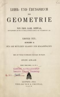Lehr- und Übungsbuch der Geometrie. 1. T., Ausg. A, Für die Mittleren Klassen der Realanstalten