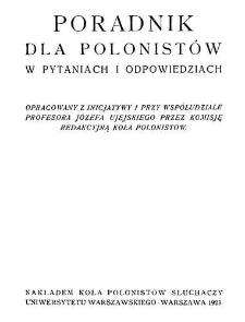 Poradnik dla polonistów w pytaniach i odpowiedziach