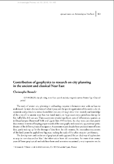 Contribution of geophysics to research on city planning in the ancient and classical Near East